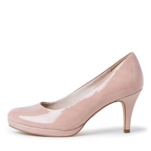 rose court shoe with a mid-heel