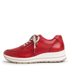 Premium Super-Soft Lace Up Runner in Red Leather