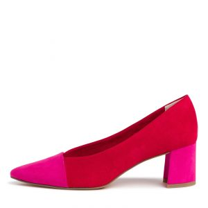 Block Heel in Red & Pink