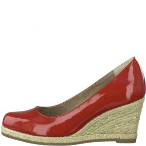 Espadrille Wedge in Red Patent
