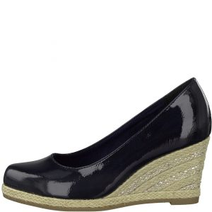 Espadrille Wedge in Navy Patent