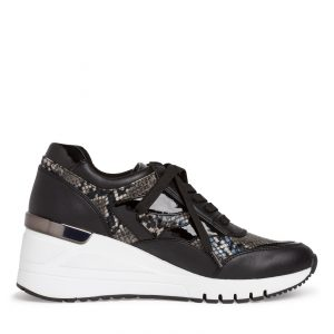 Black Wedge Trainer with Animal Print by Marco Tozzi