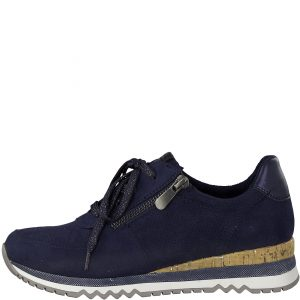 Navy Runner with a Cork Heel by Marco Tozzi