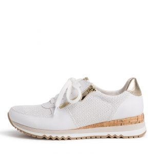White Runner with a Cork Heel by Marco Tozzi