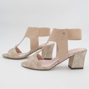 Nude/Gold reptile sandal