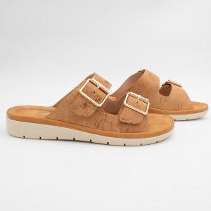 Tan Double Buckle Sandal by Feather Lites