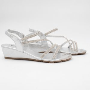 Silver Diamante Sandal by Redz