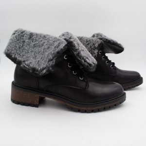 Black Fur Lined Lace Up Combat Boot by XTI